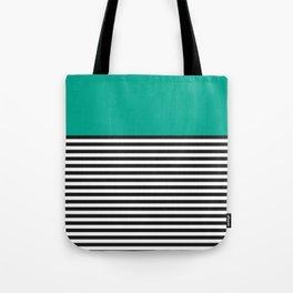 STRIPE COLORBLOCK {EMERALD GREEN} Tote Bag