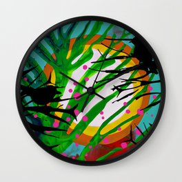 Birds Chatting: 2 birds on a branch chatting about the sun rise / sunset Wall Clock