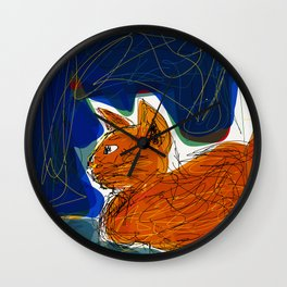 Socca Ginger Cat Art Wall Clock