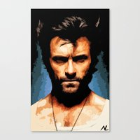 xmen Canvas Prints featuring Xmen Hugh Jackman Wolverine Pop Art Poster by NLopezArt