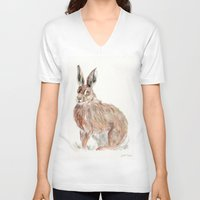 hare V-neck T-shirts featuring HARE  by Joelle Poulos