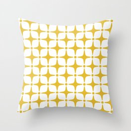 Mid Century Modern Star Pattern Yellow Throw Pillow