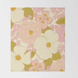 Pink Pastel Vintage Floral Pattern Throw Blanket