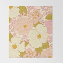 Pink Pastel Vintage Floral Pattern Throw Blanket