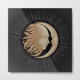 Face in sun and moon hand drawing vintage engraving money line detail style Metal Print