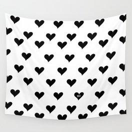 Retro Hearts Pattern Black White Wall Tapestry