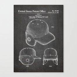 Baseball Helmet Patent - Baseball Player Art - Black Chalkboard Canvas Print