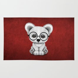 Cute Polar Bear Cub with Eye Glasses on Red Rug