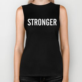 STRONGER (white text) Biker Tank