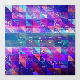 "2 Corinthians 12:9 ""Grace"" (purple triangles) Canvas Print"