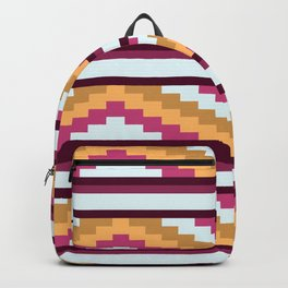 White And Purple Stripe Native Aztec Pattern Backpack