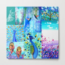 Aqua collage Metal Print