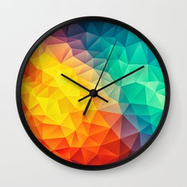 Abstract Multi Color Cubizm Painting Wall Clock