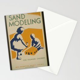 Vintage American WPA Poster - Sand modeling for younger children (1939) Stationery Cards