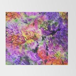 Elegant Rainbow Floral Abstract Throw Blanket