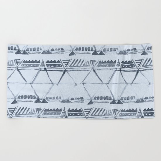 Simply Tribal Shibori in Indigo Blue on Sky Blue Beach Towel