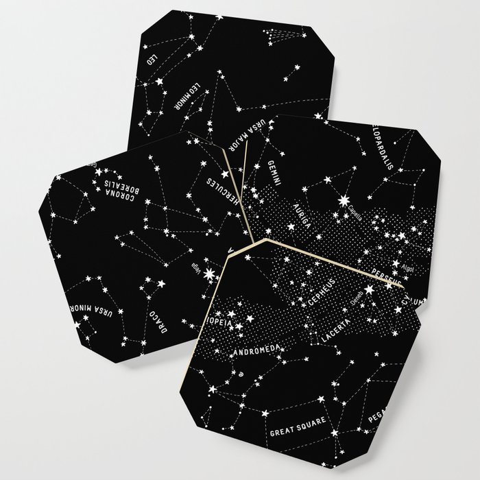 Constellation Map - Black Coaster