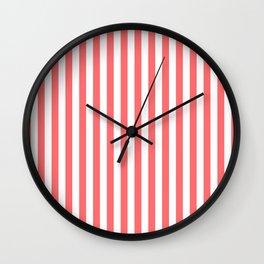 Light Coral Stripes Wall Clock