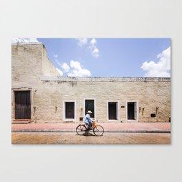 Riding a Bike in Merida, Mexico Canvas Print