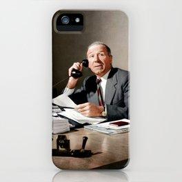 Sir Matt Busby on phone in colour iPhone Case