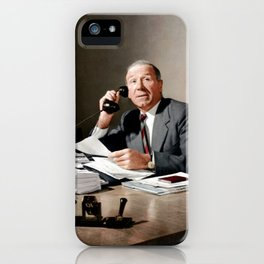 Sir Matt Busby on phone in colour iPhone Case