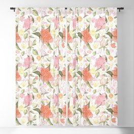 Peonies Abound Pattern in Blush and Pastel Coral Blackout Curtain