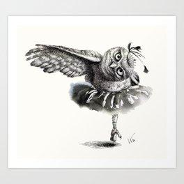 Owl Lake - Black Owl Art Print