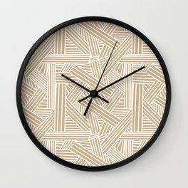 Sketchy Abstract (White & Tan Pattern) Wall Clock