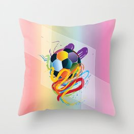 Brush strokes and soccer ball Throw Pillow