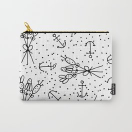 Abstract black white nautical dots floral Carry-All Pouch