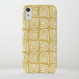 Handdrawn Rainbows in Mustard Yellow iPhone Case