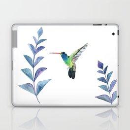 Hummingbird with tropical leaves watercolor design Laptop & iPad Skin