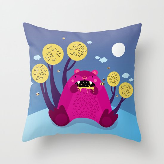 The bear and the bees Throw Pillow