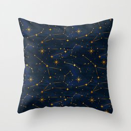 N48 - Indigo dark blue night space with shining stars by Arteresting Throw Pillow