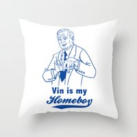 dodgers Throw Pillows featuring Vin is my homeboy by GOGILAND