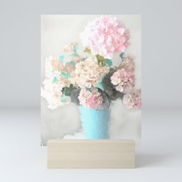 Shabby Chic Hydrangea Flowers Pink White Aqua Blue Mini Art Print
