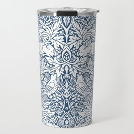 William Morris Navy Bird & Acorn Pattern Travel Mug