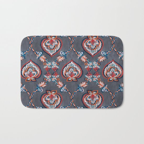 Floral Ogees in Red & Blue on Grey Bath Mat