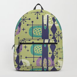 Retro Atomic Mid Century Pattern Blue Green Purple and Turquoise Backpack