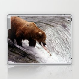 Bear Catching Salmon - Wildlife Photography Laptop & iPad Skin