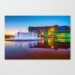 Kansas City Union Station Bloch Fountain Lights at Dusk Canvas Print