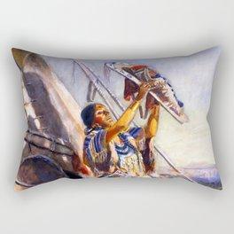 """Montana Sun Worship"" by Charles M Russell Rectangular Pillow"