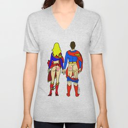 Superhero Butts Love 1 - Super Birds Unisex V-Neck