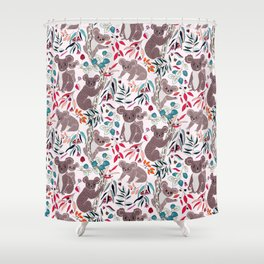 Cute Vintage Pink Cuddly Koalas Shower Curtain