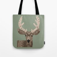 antlers Tote Bags featuring Antlers by ArtLovePassion