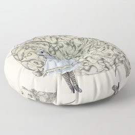 Alice,White Rabbit  and a Wonderland Floor Pillow