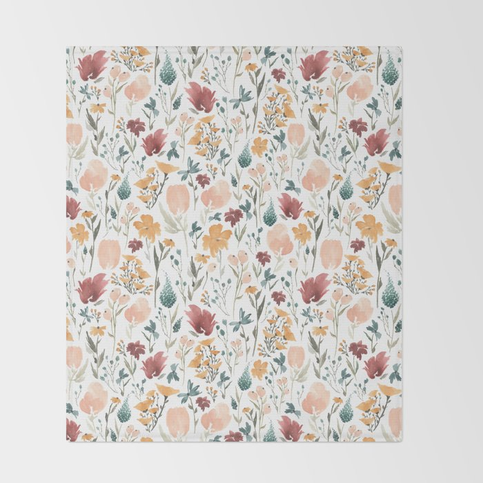 Deep Florals Throw Blanket