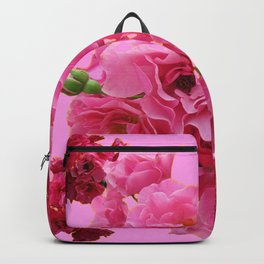 DECORATIVE FRILLY SCENTED PINK ROSE CLUSTERS ON PINK Backpack