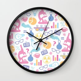 Pastel Science Pattern Wall Clock