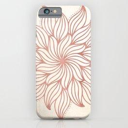 Flowery Rose Gold Mandala on Cream iPhone Case